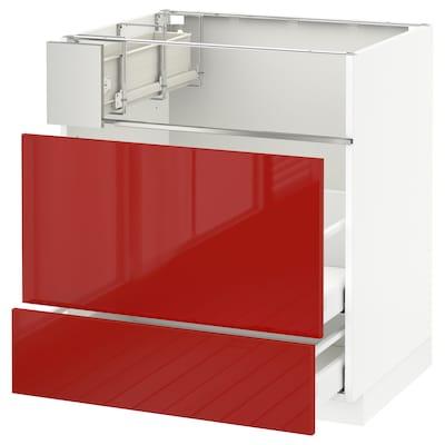 METOD / MAXIMERA Base cb f hob/fish grill/2 drawers, white/Ringhult red, 75x60x80 cm
