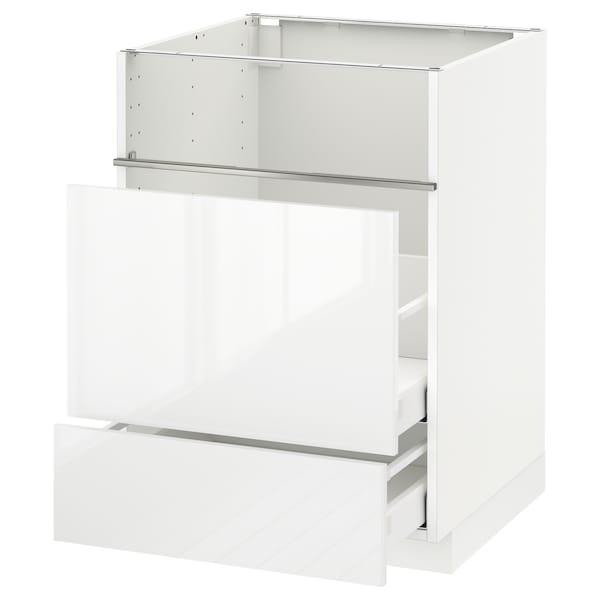 METOD / MAXIMERA Base cb f hob/fish grill/2 drawers, white/Ringhult white, 60x60x80 cm