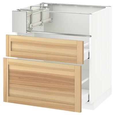 METOD / MAXIMERA Base cb f hob/fish grill/2 drawers, white/Torhamn ash, 75x60x80 cm