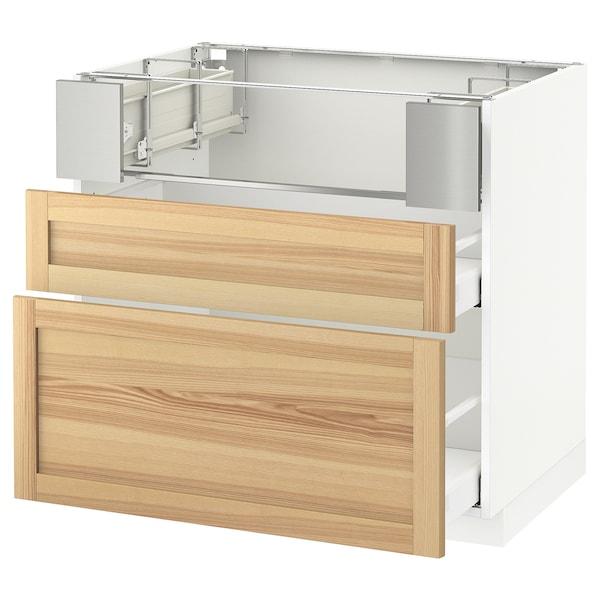METOD / MAXIMERA Base cb f hob/fish grill/2 drawers, white/Torhamn ash, 90x60x80 cm