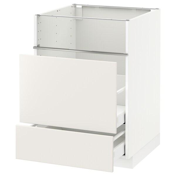 METOD / MAXIMERA Base cb f hob/fish grill/2 drawers, white/Veddinge white, 60x60x80 cm