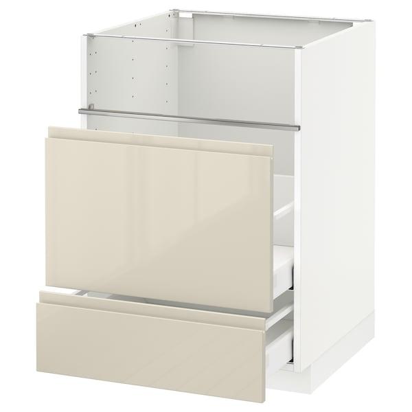 METOD / MAXIMERA Base cb f hob/fish grill/2 drawers, white/Voxtorp high-gloss light beige, 60x60x80 cm