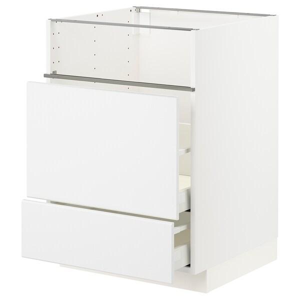 METOD / MAXIMERA base cb f hob/fish grill/2 drawers white/Kungsbacka matt white 60.0 cm 60 cm 61.8 cm 80.0 cm