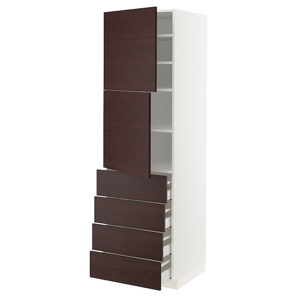 METOD / MAXIMERA Hi cab w shlvs/4 drawers/2 doors, white Askersund/dark brown ash effect, 60x60x200 cm