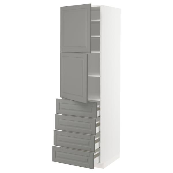METOD / MAXIMERA Hi cab w shlvs/4 drawers/2 doors, white/Bodbyn grey, 60x60x200 cm