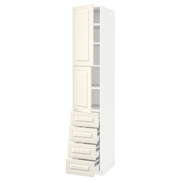 METOD / MAXIMERA Hi cab w shlvs/4 drawers/2 doors, white/Bodbyn off-white, 40x60x220 cm