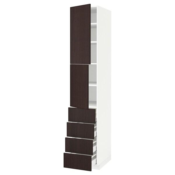METOD / MAXIMERA Hi cab w shlvs/4 drawers/2 doors, white/Ekestad brown, 40x60x220 cm