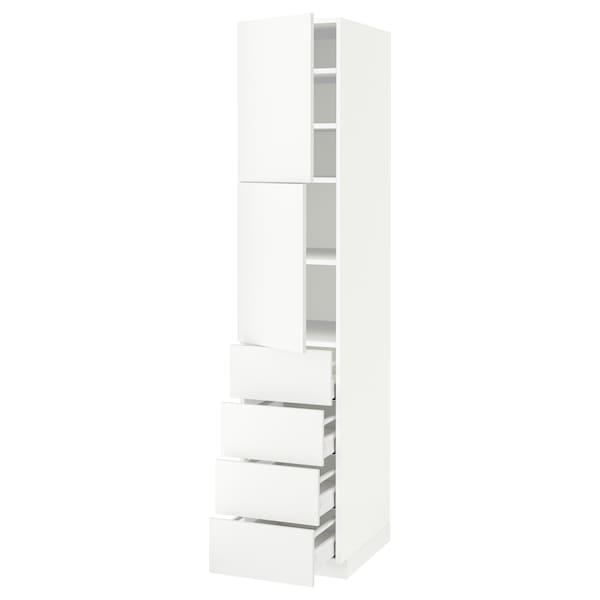 METOD / MAXIMERA Hi cab w shlvs/4 drawers/2 doors, white/Häggeby white, 40x60x200 cm