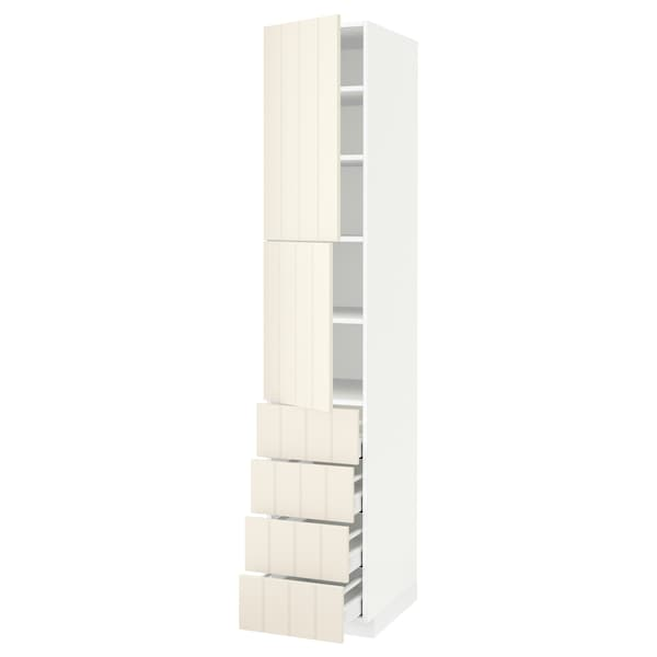 METOD / MAXIMERA Hi cab w shlvs/4 drawers/2 doors, white/Hittarp off-white, 40x60x220 cm