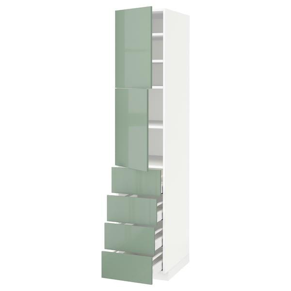 METOD / MAXIMERA Hi cab w shlvs/4 drawers/2 doors, white/Kallarp light green, 40x60x200 cm