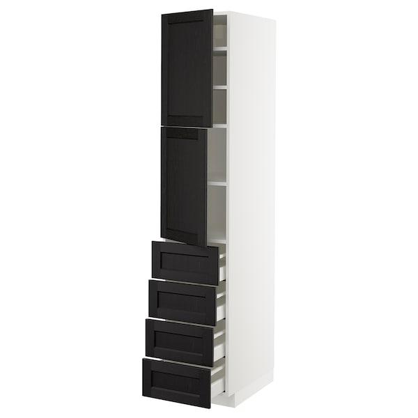 METOD / MAXIMERA Hi cab w shlvs/4 drawers/2 doors, white/Lerhyttan black stained, 40x60x200 cm