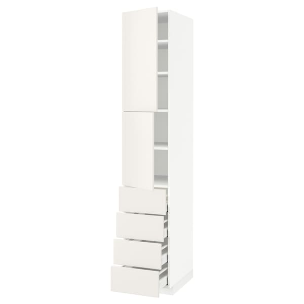 METOD / MAXIMERA Hi cab w shlvs/4 drawers/2 doors, white/Veddinge white, 40x60x220 cm