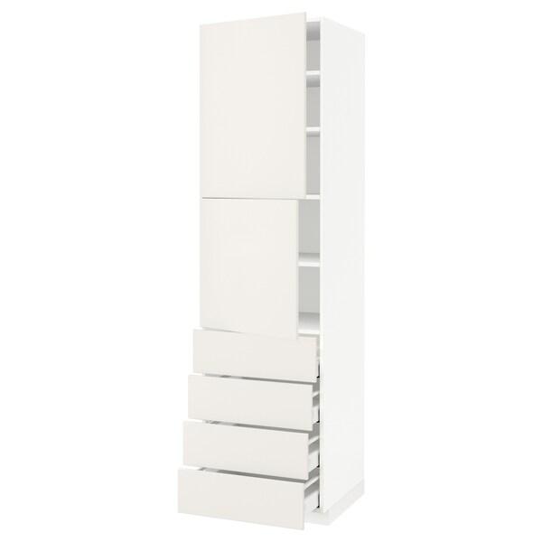 METOD / MAXIMERA Hi cab w shlvs/4 drawers/2 doors, white/Veddinge white, 60x60x220 cm