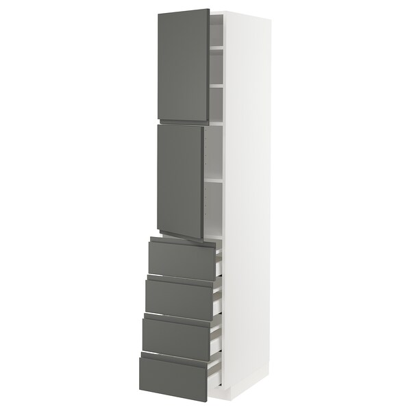 METOD / MAXIMERA Hi cab w shlvs/4 drawers/2 doors, white/Voxtorp dark grey, 40x60x200 cm