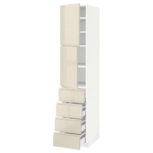 METOD / MAXIMERA Hi cab w shlvs/4 drawers/2 doors, white/Voxtorp high-gloss light beige, 40x60x200 cm