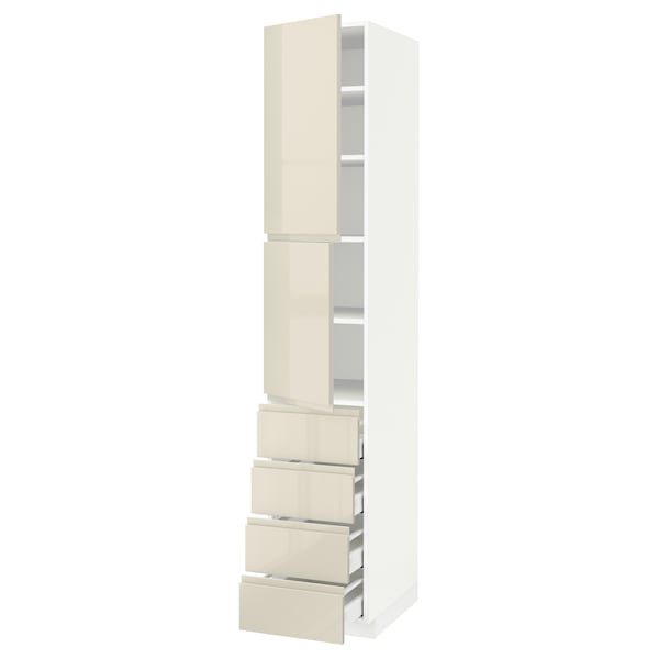 METOD / MAXIMERA Hi cab w shlvs/4 drawers/2 doors, white/Voxtorp high-gloss light beige, 40x60x220 cm
