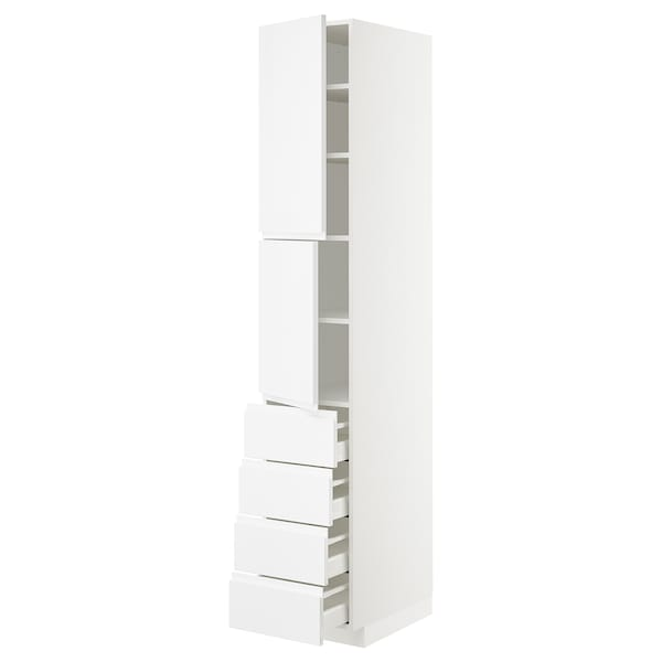 METOD / MAXIMERA Hi cab w shlvs/4 drawers/2 doors, white/Voxtorp high-gloss/white, 40x60x220 cm