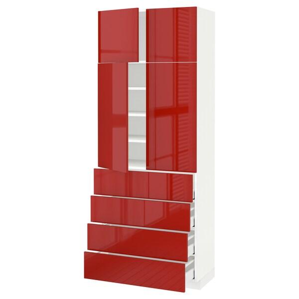 METOD / MAXIMERA hi cab w shlvs/4 drawers/4 doors white/Ringhult red 80.0 cm 41 cm 42.8 cm 200.0 cm