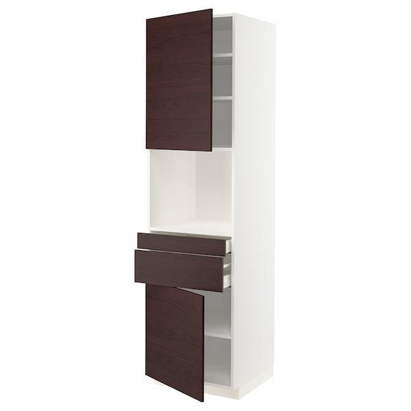 METOD / MAXIMERA Hi cb f micro w 2 drawers/2 doors, white Askersund/dark brown ash effect, 60x60x220 cm
