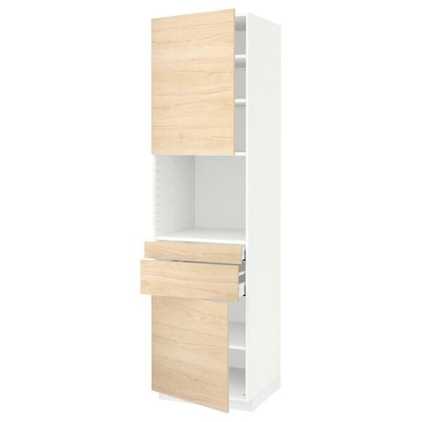 METOD / MAXIMERA Hi cb f micro w 2 drawers/2 doors, white/Askersund light ash effect, 60x60x220 cm