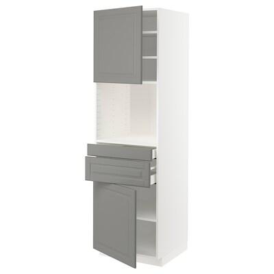METOD / MAXIMERA Hi cb f micro w 2 drawers/2 doors, white/Bodbyn grey, 60x60x200 cm
