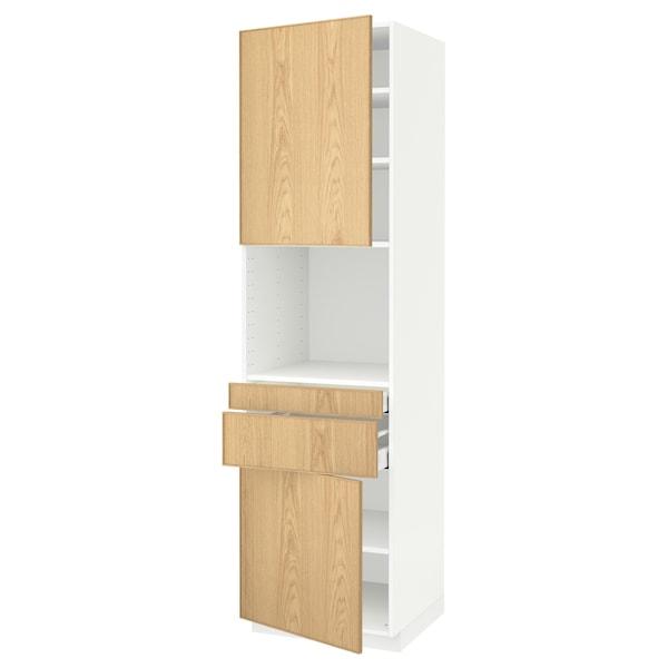 METOD / MAXIMERA Hi cb f micro w 2 drawers/2 doors, white/Ekestad oak, 60x60x220 cm
