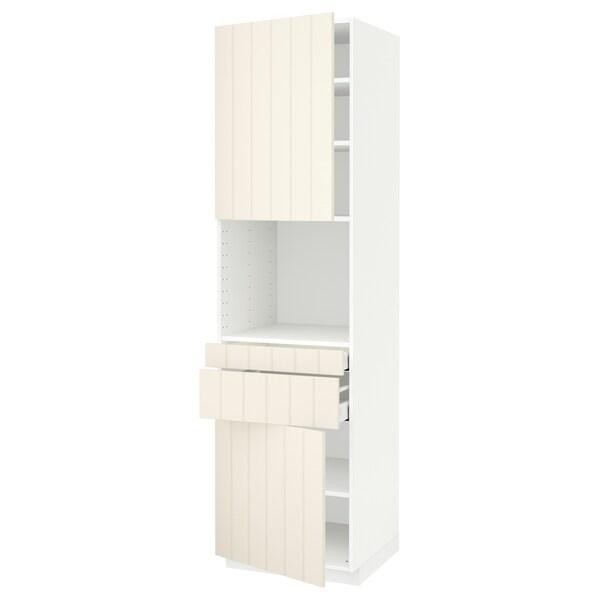 METOD / MAXIMERA Hi cb f micro w 2 drawers/2 doors, white/Hittarp off-white, 60x60x220 cm
