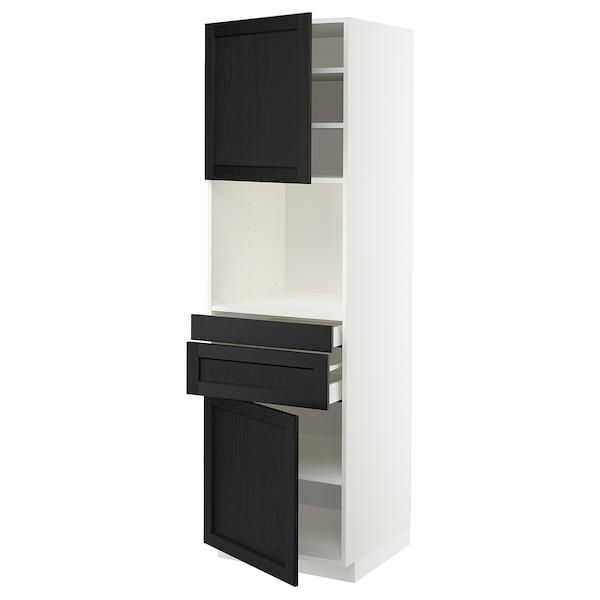 METOD / MAXIMERA Hi cb f micro w 2 drawers/2 doors, white/Lerhyttan black stained, 60x60x200 cm