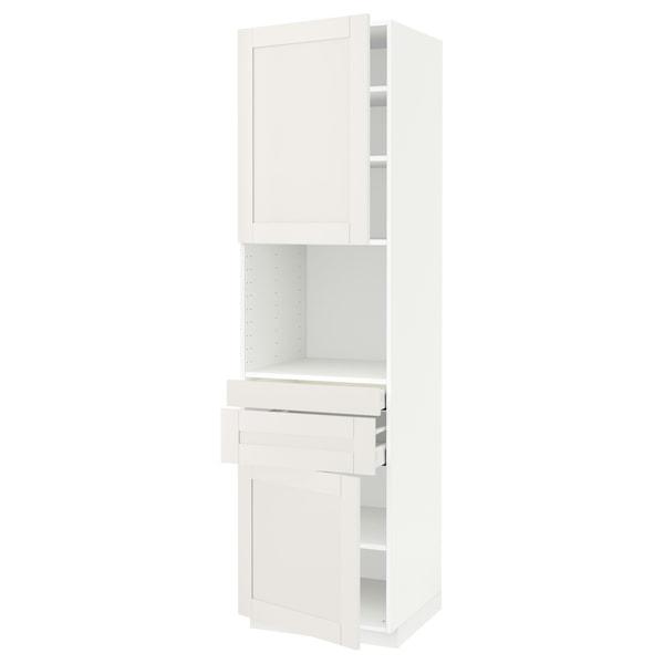 METOD / MAXIMERA Hi cb f micro w 2 drawers/2 doors, white/Sävedal white, 60x60x220 cm