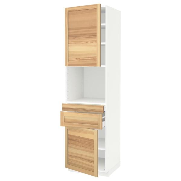 METOD / MAXIMERA Hi cb f micro w 2 drawers/2 doors, white/Torhamn ash, 60x60x220 cm