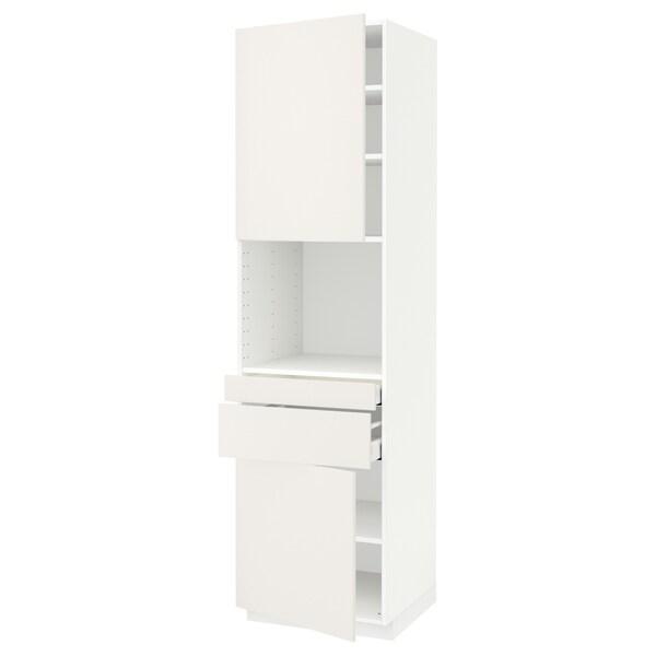 METOD / MAXIMERA Hi cb f micro w 2 drawers/2 doors, white/Veddinge white, 60x60x220 cm