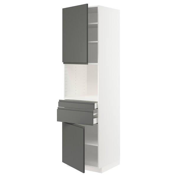 METOD / MAXIMERA Hi cb f micro w 2 drawers/2 doors, white/Voxtorp dark grey, 60x60x220 cm