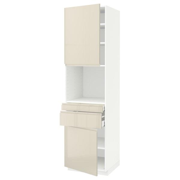 METOD / MAXIMERA Hi cb f micro w 2 drawers/2 doors, white/Voxtorp high-gloss light beige, 60x60x220 cm