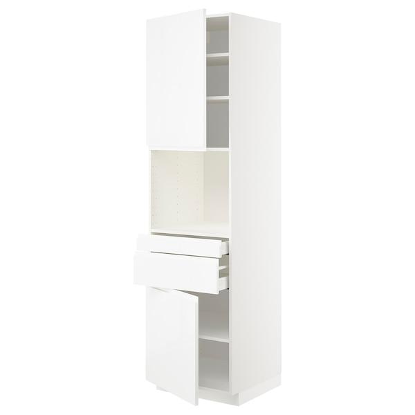 METOD / MAXIMERA Hi cb f micro w 2 drawers/2 doors, white/Voxtorp high-gloss/white, 60x60x220 cm