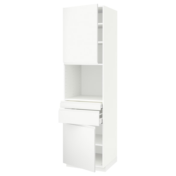 METOD / MAXIMERA Hi cb f micro w 2 drawers/2 doors, white/Voxtorp matt white, 60x60x220 cm