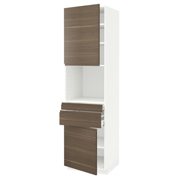 METOD / MAXIMERA Hi cb f micro w 2 drawers/2 doors, white/Voxtorp walnut effect, 60x60x220 cm