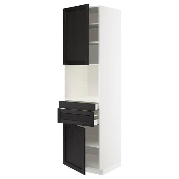 METOD / MAXIMERA hi cb f micro w 2 drawers/2 doors white/Lerhyttan black stained 60.0 cm 61.9 cm 60.0 cm 220.0 cm