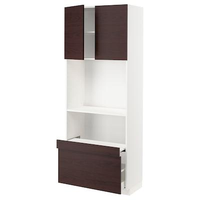METOD / MAXIMERA Hi cb w pull-out shelf/drawer/2 drs, white Askersund/dark brown ash effect, 80x41x200 cm