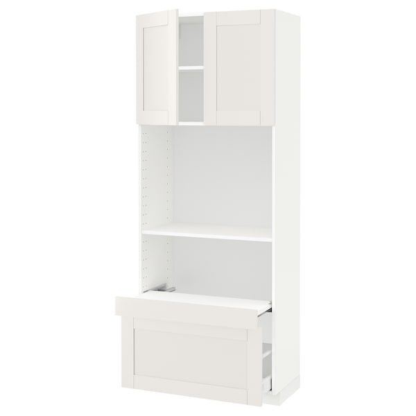 METOD / MAXIMERA Hi cb w pull-out shelf/drawer/2 drs, white/Sävedal white, 80x41x200 cm