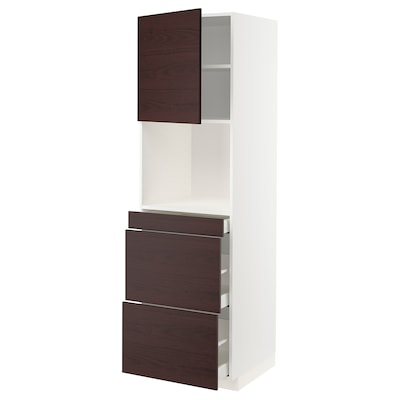 METOD / MAXIMERA High cab f micro w door/3 drawers, white Askersund/dark brown ash effect, 60x60x200 cm