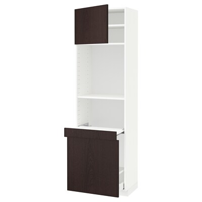 METOD / MAXIMERA High cab w pull-out storage/1 door, white/Ekestad brown, 60x41x200 cm