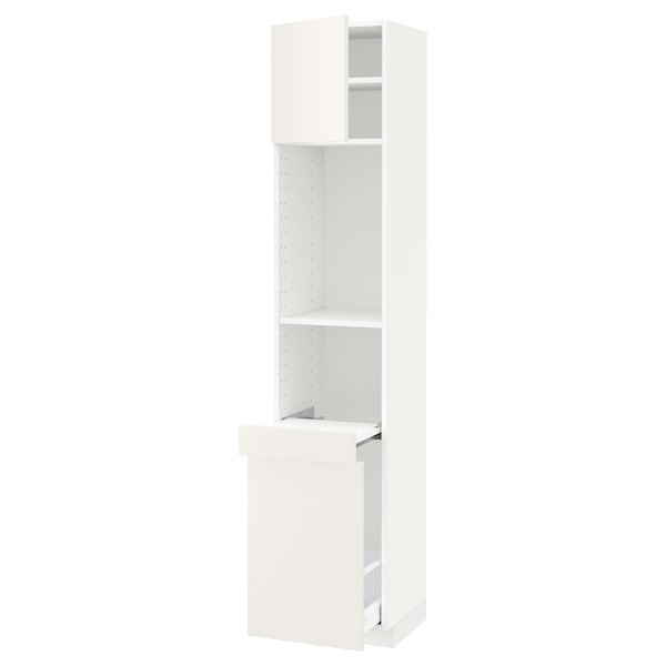 METOD / MAXIMERA High cab w pull-out storage/1 door, white/Veddinge white, 40x41x200 cm
