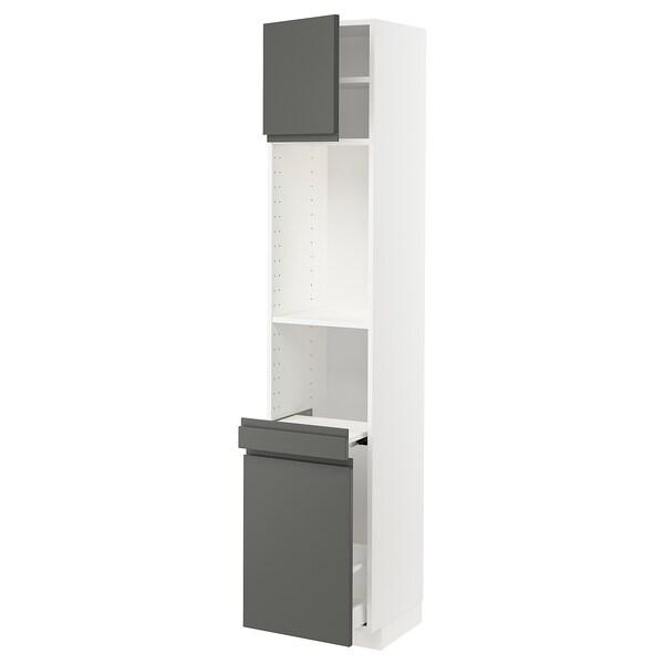 METOD / MAXIMERA High cab w pull-out storage/1 door, white/Voxtorp dark grey, 40x41x200 cm