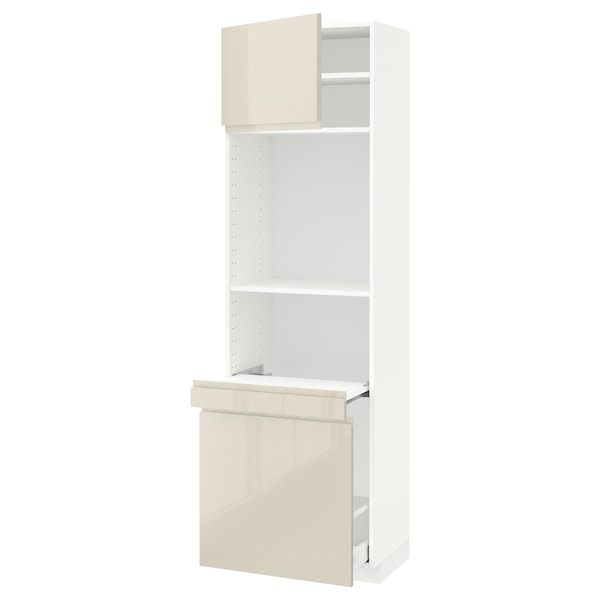 METOD / MAXIMERA High cab w pull-out storage/1 door, white/Voxtorp high-gloss light beige, 60x41x200 cm
