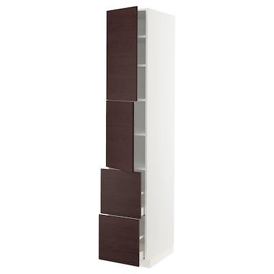METOD / MAXIMERA High cabinet w 2 doors+2 drawers, white Askersund/dark brown ash effect, 40x60x220 cm