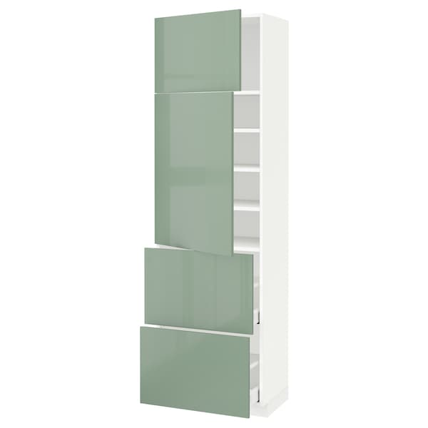 METOD / MAXIMERA High cabinet w 2 doors+2 drawers, white/Kallarp light green, 60x41x200 cm