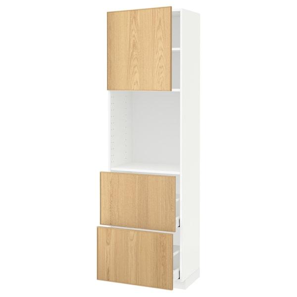 METOD / MAXIMERA High cabinet w shelves/2 drawers, white/Ekestad oak, 60x41x200 cm