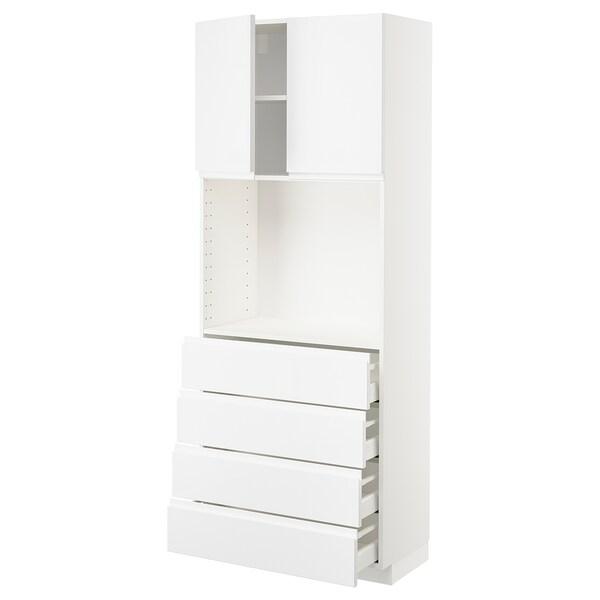 METOD / MAXIMERA High cabinet w shelves/4 drawers, white/Voxtorp high-gloss/white, 80x41x200 cm