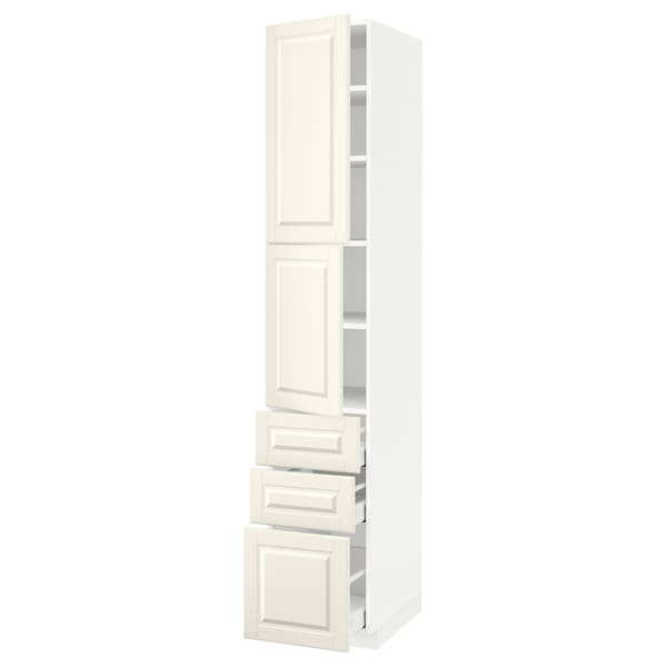 METOD / MAXIMERA High cabinet with 2 doors+3 drawers, white/Bodbyn off-white, 40x60x220 cm