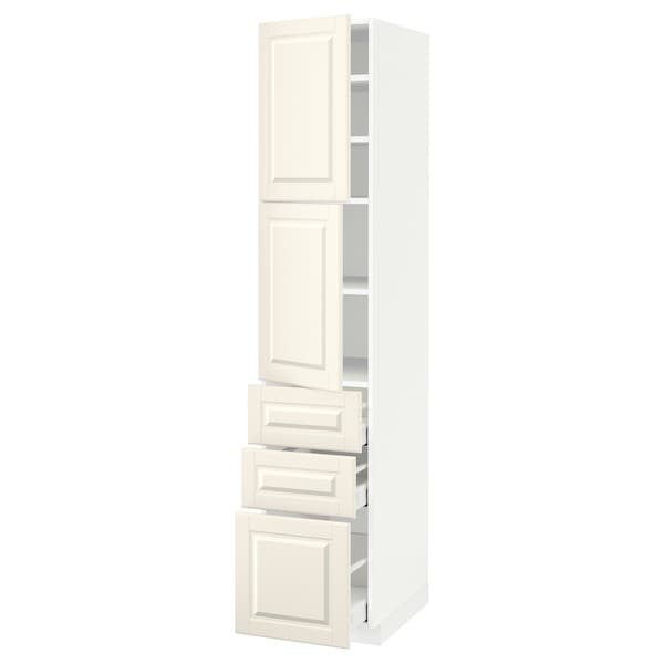 METOD / MAXIMERA High cabinet with 2 doors+3 drawers, white/Bodbyn off-white, 40x60x200 cm